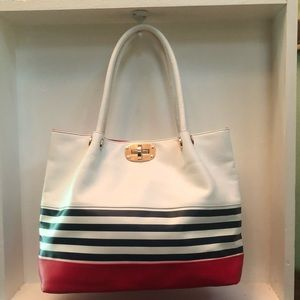 Melie Bianco White Red & Navy Vegan Leather Tote